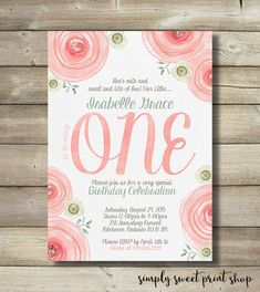 Hey, I found this really awesome Etsy listing at https://www.etsy.com/listing/236728507/girl-first-1st-one-birthday-party-invite