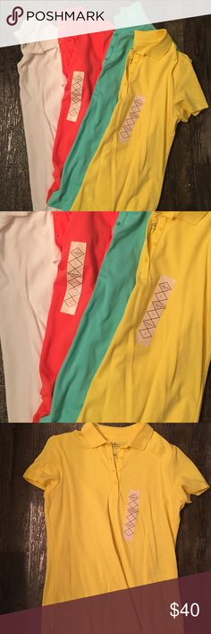 St Johns Polo Pack 4 polos. 2 NWT. 1 White. 1 Melon. 1 Lemon. 1 Teal. Short sleeve. Bright colors. Paid $20 each. St Johns Bay Tops Button Down Shirts