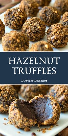 These hazelnut truffles have a wonderfully complex flavor thanks to a combination of Nutella Kahlua and instant espresso that is added to melted chocolate heavy cream butter cocoa powder and powdered sugar. Candy Recipes, Sweet Recipes, Baking Recipes, Cookie Recipes, Dessert Recipes, Just Desserts, Delicious Desserts, Yummy Food, Truffle Recipe