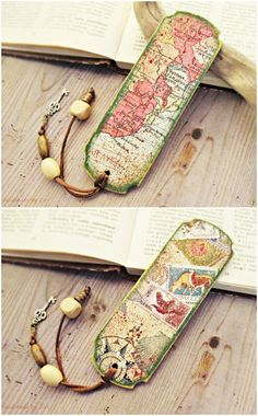 Travel Theme Map Wood Bookmark Vintage Map Bookmark Travel