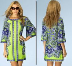Hale Bob Dress Green Jersey Bright Forecast Size XS 2 4 2BAS6101 Print | eBay