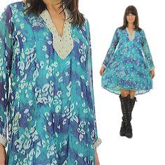 70s Boho Mini Dress Hippie Dress by SHABBYBABEVINTAGE on Etsy $65.00