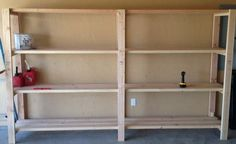 Purchasing custom garage shelving is not cheap. You can truly save a stack of money by completing this diy woodworking project yourself. Garage Shelving Units, Diy Storage Shelves, Garage Shelf, Cheap Storage, Laundry Room Storage, Storage Ideas, Basement Shelving, Shelving Ideas, Wooden Garage Shelves