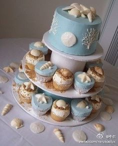 #beach #cake :)  Finally!   small cake with cupcakes....perfect