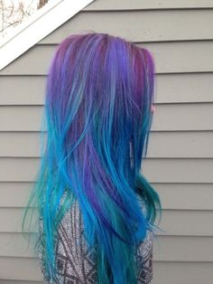 Blue and purple ombré hair