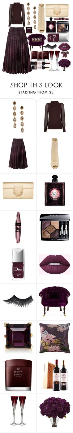 """The rich burgundy"" by pulseofthematter ❤ liked on Polyvore featuring Saqqara, Oasis, Steve Madden, Salvatore Ferragamo, Yves Saint Laurent, Maybelline, Christian Dior, Haute House, Kenneth Jay Lane and Poetic Wanderlust"
