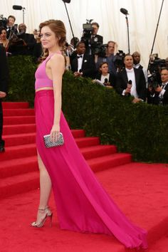 As we await this year's Met Gala, we've rounded up the best trains on the red carpet: Emma Stone in Thakoon.