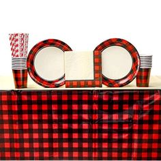 Red & Black Buffalo Checker Party Decorations, cupcakes by on Etsy 1920 Theme Party, Birthday Party Decorations, Birthday Parties, Baby Shower Supplies, Baby Shower Themes, Baby Shower Decorations, Wedding Photo Booth Props, Party Props, Party Ideas