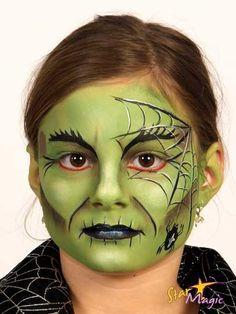 Billedresultat for witch face paint kids Spider Witch Makeup, Kids Witch Makeup, Halloween Makeup Witch, Kids Makeup, Scary Halloween, Halloween Make Up, Face Painting Halloween Kids, Adult Face Painting, Dinosaur Face Painting