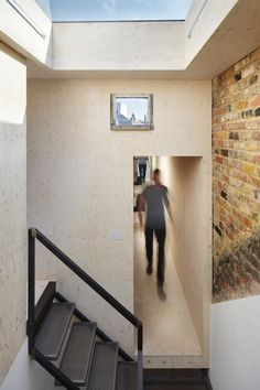 Studio Octopi adds plywood-lined loft extension to house in London Terraced House Loft Conversion, Glass Balcony, Roof Extension, Loft Stairs, Stairs Architecture, House Extensions, London, Home Studio, Plywood