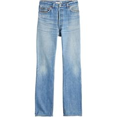 RE/DONE High-Rise Bootcut Jeans (3 230 SEK) ❤ liked on Polyvore featuring jeans, blue, high waisted bootcut jeans, blue high waisted jeans, boot cut jeans, bootcut jeans and fitted jeans
