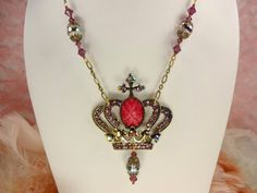 Crown Necklace in Purple and Pinks  Ancient by VictoriannaCharmers, $22.00