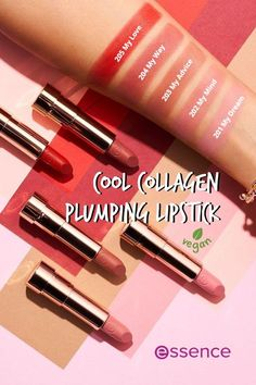 """The """"Cool COLLAGEN plumping lipstick"""" by essence in 5 wounderful shades is enriched with hyaluronic acid. Thanks to its smooth texture, it feels nourishing and super soft on the lips. At the same time, a light tingling effect provides a pleasant boost of freshness. Plumping Lipstick, Liquid Lipstick, Hyaluronic Acid, Lip Balm, Lip Gloss, Feels, Smooth, Shades, Vegan"""