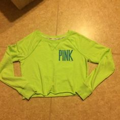 Victoria Secret PINK cropped French Terry top Very cute and beautiful fun color in excellent condition sz Small Victoria's Secret Tops Tees - Long Sleeve