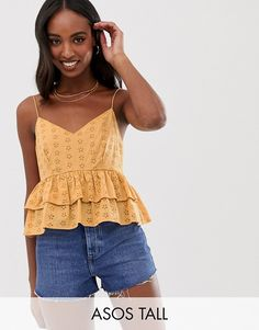 Browse online for the newest ASOS DESIGN Tall crop ruffle cami in broderie sun top styles. Shop easier with ASOS' multiple payments and return options (Ts&Cs apply). Cute Tank Tops, Cami Tops, Asos, Fashion 2020, Fashion Online, Yves Saint Laurent, Casual Skirt Outfits, Cute Outfits For School, Holiday Outfits