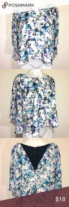 Sam Edelman purple blue floaty floral blouse top Lovely & refreshing loose, floaty top by Sam Edelman. Floral print chiffon in purple, blue & grey is layered over heavier white polyester lining. Zips up back. Sleeves have a bell/kimono shape. Polyester with a touch of spandex. Just lovely. Sam Edelman Tops Blouses