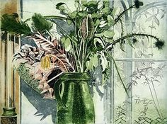 'October' by Richard Bawden (etching and aquatint) Frozen In Time, Months In A Year, Autumn Trees, Flower Vases, Cat Art, Green Colors, Painting Prints, Printmaking, Still Life
