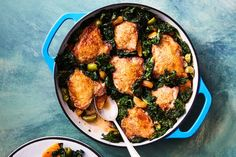 crispy chicken thighs with kale, apricots, and olives / Photo by Chelsea Kyle, Food Styling by Anna Stockwell