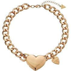 GUESS Chunky Heart Collar Necklace ($33) found on Polyvore