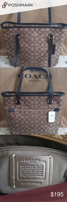 """Coach Handbag Zip Top Khaki Brown Tote Coach Handbag Zip Top Khaki Brown Tote  •100% Authentic  •Brand new ( never used)  •10.5""""L x 10.25""""H x 4.25"""" W  Note: Choose for Free One Ulta Beauty Collection for the purchase of any handbag Coach Bags Totes"""