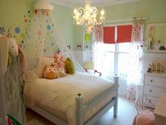 Green Kids room with Diy Canopy Bed