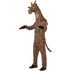 Giraffe Adult Costume ($45) ❤ liked on Polyvore featuring costumes, halloween costumes, horns costume, animal costumes, adult giraffe halloween costume, white halloween costumes and african costumes