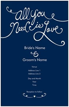 whimsical dark blue wedding invitations all you need is love wedding invitations vistaprint