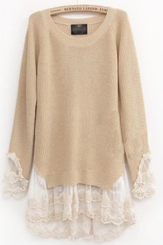 Beige Long Sleeve Contrast Lace Pullovers Sweater pictures
