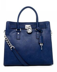 Michael Kors Hamilton Large Tote Navy Leather