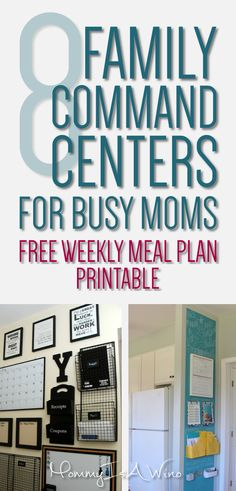 8 Family Command Centers For Busy Moms - Free Weekly Meal Plan Printable - Get Organized with a Family Command Center - Organization ideas for the home - Organizing ideas Recipe Organization, Life Organization, Organizing Ideas, Family Command Center, Command Centers, Family Schedule, Meal Planning Printable, Diy On A Budget, Getting Organized