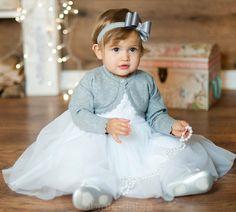 e36eee37be Paulinka biała z bolerkiem szarym Ubranka do chrztu. Sukienka na chrzest.  Ubranka dla dziewczynki
