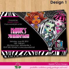 MONSTER HIGH BIRTHDAY | Monster High Invitation Printable, Birthday Party Invite You-Print ...