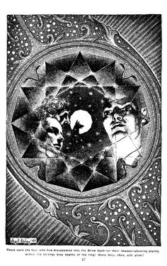 Virgil Finlay, The Blind Spot, Part 3, by Austin Hall and Homer Eon Flint, Famous Fantastic Mysteries 40-05, P.47.