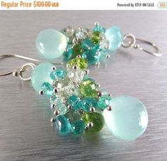 25 % OFF Aqua Chalcedony Cluster Mixed Gemstone Sterling