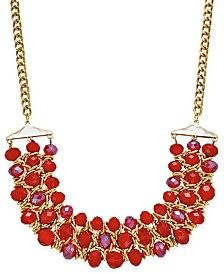 Style & Co. Gold-Tone Red Beaded Collar Necklace, Only at Macy's