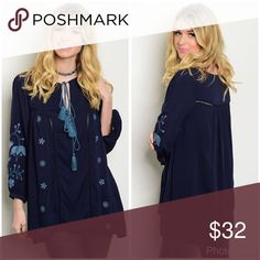 Gorgeous contrast navy and blue embroidered tunic! Long sleeve yolk tie front embroidery detail tunic top. 100 % cotton length 30 Tops Tunics