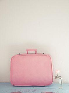 Yvette Inufio pastel pink vintage luggage suitcase