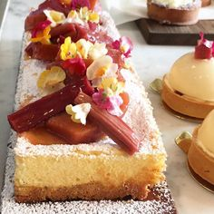 Baked rhubarb and poached quince cheesecake  #millstone by millstonepatisserie