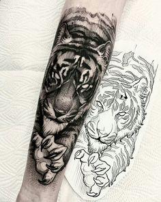 Tiger Forearm Tattoo, Tiger Tattoo Sleeve, Lion Tattoo Sleeves, Tiger Tattoo Design, Forearm Sleeve Tattoos, Leg Tattoo Men, Tattoo Design Drawings, Best Sleeve Tattoos, Tattoo Designs Men
