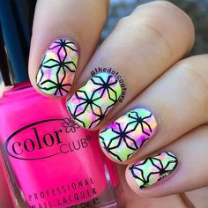 Super neon stamped nail art.