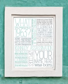 Custom 50th Birthday Gift Print by TessaMcRae on Etsy, $18.00