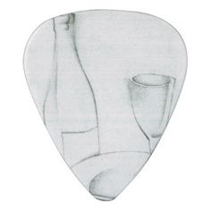 Bottle, glass and fruit peel by Juan Gris Guitar Pick