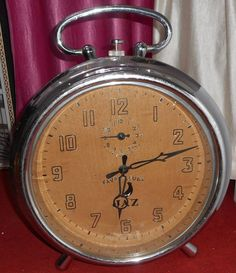 "Big Favre Leuba Jaz window DISPLAY clock nickled case 22"" Nanpara State India"