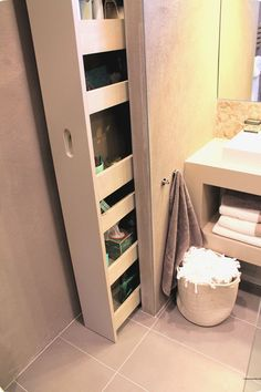 Small bathroom storage cabinet built in bathroom storage cabinet built in 1325 brilliant bathroom shelves and integrated storage space for your . bathroom shelves glasses brilliant bathroom shelves and integrated storage Bathroom Renos, Bathroom Furniture, Bathroom Interior, Master Bathroom, Bathroom Closet, Bathroom Remodeling, Cabinet Furniture, Bling Bathroom, Furniture Ideas