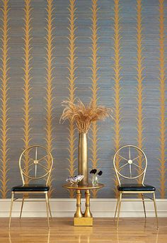 Celerie Kemble for Schumacher Acanthus Stripe Tumeric Wallpaper (Priced and Sold by the Yard. Must order in 8 yard increments. Minimum Order is 8 yards. Graphic Wallpaper, Striped Wallpaper, Fabric Wallpaper, Wall Wallpaper, Entryway Decor, Wall Decor, Celerie Kemble, Acanthus, Wall Treatments