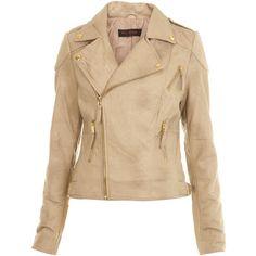 Stone Seam Detail Biker ($85) ❤ liked on Polyvore featuring outerwear, jackets, coats, leather jacket, coats & jackets, women, miss selfridge, beige jacket and biker jacket