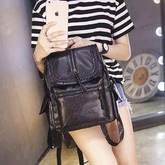 44.25$  Watch here - http://virce.justgood.pw/vig/item.php?t=vdlygx08276 - Style Womens Leather Backpack Black children backpacks mini backpack women back