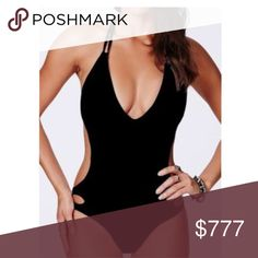 COMING SOON!!! COMING SOON!!! Solid backless sexy Halter one piece swimsuit in black! Swim One Pieces