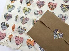 Map Stickers, Heart Map Stickers, Map Heart Stickers, Map Envelope Seals, Heart Envelope Seals, Map Wedding Stickers, Map Sticker Seals…