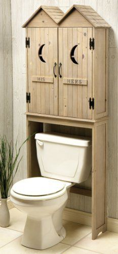 Bathroom storage with a helping of humor! Outhouse Space Saver, over the toilet storage cabinet. Toilet Storage, Bath Storage, Country Decor, Rustic Decor, Rustic Wood, Outhouse Bathroom Decor, Cabin Bathrooms, Wood Plastic, Country Baths